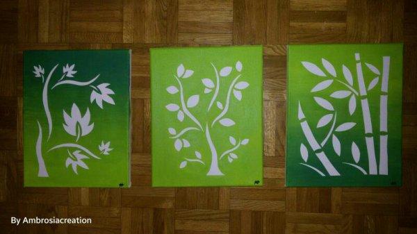 Tableaux peints par ma fille, collection feuillage