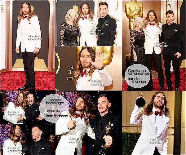 """. 02/03/2014 : Jared Leto était avec sa maman Constance et son frère Shannon aux  Oscars 2014 à  Hollywood  J. a eu l'Oscar du meilleur second rôle pour son rôle dans « Dallas Buyers Club » il a remercié sa maman de lui avoir """"appris à rêver""""."""
