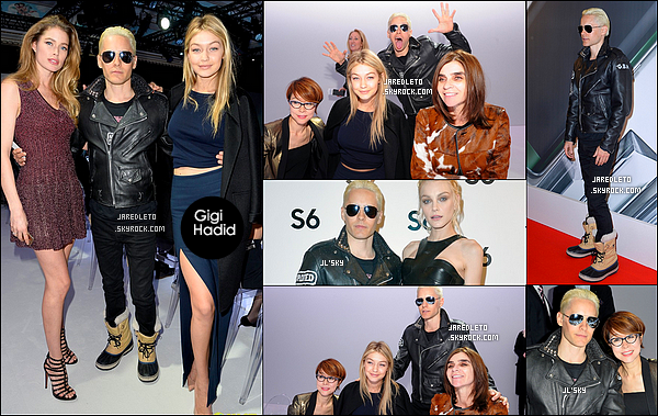 """. 7/03/2015 : Jared a posé avec  Gigi Hadid et Doutzen Kroes  durant la """"Fashion Week"""" à Paris en France  Etaient également présent à l'événement :  Jessica Stam , Lily Donaldson , Brad Goreski et Aimee Chanson . Jared en a pu faire des selfies."""