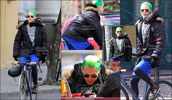 """. 26/04/2015 : Jared L. avec ses cheveux verts plaqués en arrière se promenait en vélo à  Toronto au Canada     Le lendemain (27 Avril) Jared a été aperçu sur le tournage de """"Suicide Squad"""" - Ben Affleck sera également dans le film et jouera Batman  ."""
