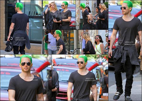 . 29/05/2015 : Jared Leto qui se démarque avec ses cheveux verts étaient avec des amis à   New York City     Jared a posté un tweet «Où est la punition pour les personnes et les entreprises qui empoisonnent la planète? »   .