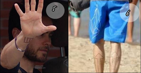 . _▪ Comme vous le savez (ou pas) Jared possède des tatouages ... 6 en tout Vous pensez que les tatoos de Jared ne sont que des formes et qu'ils ne représentent rien en particulier ? et bien détrompez vous chaque symbole à une signification bienprécisequi vous sont détaillées ci-dessous. Jared à lui même déclaré« J'ai toujours été fasciné par les signes, les symboles, les représentations iconographiques et leurs liens culturels. C'est simplement un moyen logique d'expression. Nous avons des symboles appelés GLYPHICS qui représentent les différents éléments dans notre groupe. En fait il y a une signification derrière chaque symbole. Ils ont tous une histoire.Ils servent notre musique et non l'inverse. Ils n'ont pour but que de détourner, à un moment donné, les gens de ce qu'est 30seconds to mars : un groupe de musique. » (merci au sitehttp://30secondstomars.fr/dossiers/la-symbolique/pour les infos) .