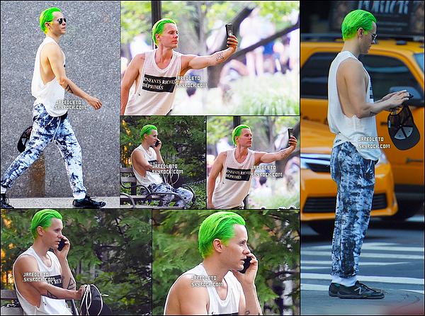 . 02/08/2015 - Jared Leto avec ses cheveux verts prenait un selfie à  New York.