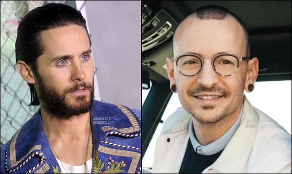 """. _▪ Jared Leto rend hommage à Chester Bennington décédé ce 20 Juillet .     En effet Chester Bennington, le mythique chanteur de Linkin Park s'est suicidé le 20 Juillet 2017 à son domicile, laissant derrière lui sa femme et ses 6 enfants, ainsi que des milliers de fans en deuil. .     Jared Leto a quant à lui bien sûr été très ému du décès du chanteur de Linkin Park décédé à l'âge de 41 ans , Jared a donc profiter de son instagram officiel pour lui adresser ce message : """"Quand je pense à Chester, je me souviens de son sourire, de son rire, de son intelligence, de sa gentillesse et de son talent. Une voix qui était unique:délicate, féroce, et toujours pleine d'émotion. Être à ses côtés durant sa vie m'a beaucoup appris. Surtout à propos de dévouement, de gentillesse, de travail acharné [...] mais surtout à propos d'amour», a écritJared Leto.  .    Chester Bennington était par ailleurs très affecté par la mort de Chris Cornell un de ses amis qui s'est également suicidé. D'ailleurs simple coïncidence ou acte volontaire de Chester ? , celui-ci a décidé de se suicider le jour de l'anniversaire de Chris Cornell qui était un 20 Juillet ..."""