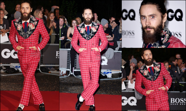 ". 05.09.2017 - Jared avec une tenue ""atypique"" était sur le tapis rouge des ""GQ Men of Year Awards"" à Londres ."