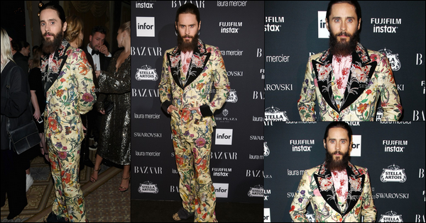 . 08.09.2017 - Jared Leto vêtu d'un costume très atypique et riche en motifs était à la fashion week de New York .