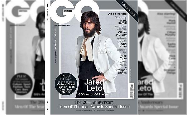 """. Jared Leto fait la couverture du Magazine """"GQ"""", pour Octobre 2017, il est très élégant  ."""