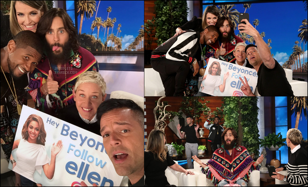 . 01.10.2017 - Jared  était sur le plateau de télévision de Ellen Degeneres pour la promo de son nouveau single  .