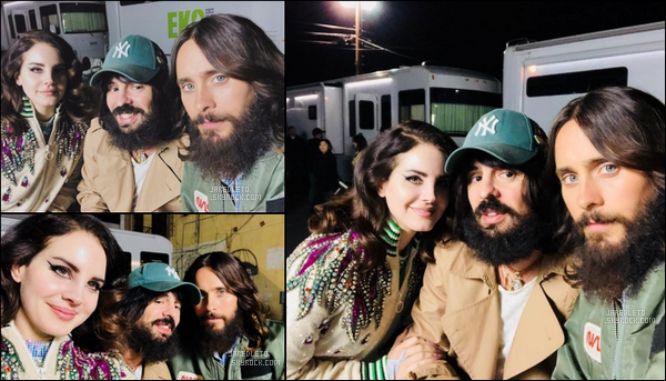 """. 04.12.2017  : Jared Leto posait avec la chanteuse Lana Del Rey pour le tournage de la pub de la marque """"Gucci"""" ."""