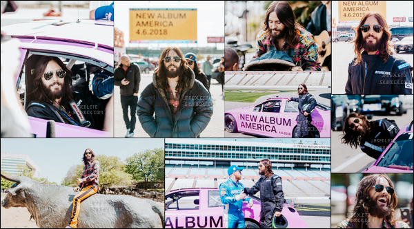 . 04.04.2018 : Jared qui s'improvise pilote automobile faisait la promo de son nouvel album America à Denton County (Texas) .