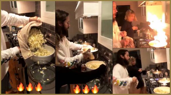 .  Jared a partagé sur son instagram une vidéo avec Sofia Boutella et mettant le feu à une casserole, raté le popcorn   .