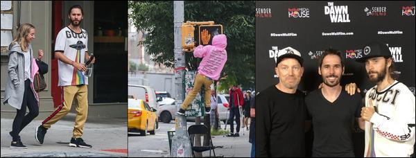 """. 14.09.2018 :  Jared a été vu se promenant dans New York et était à la première du documentaire """"The Dawn Wall""""    ."""