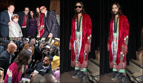 . 24.09.2018 :  Jared Leto était au Gucci Show qui s'est tenu pendant la Fashion Week de  Paris à Paris en France  .