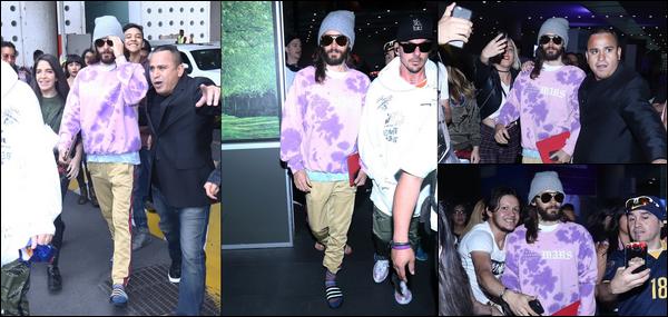 10.10.2018 :  Jared Leto avec son frère Shannon étaient à l'aéroport international de Mexico au Mexique