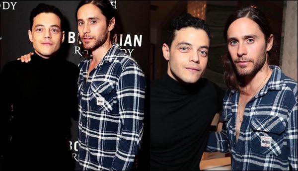 28.11.2018 : Jared   posant aux côtés de Rami Malek était à la première du film  « Bohemian Rhapsody  » à Londres