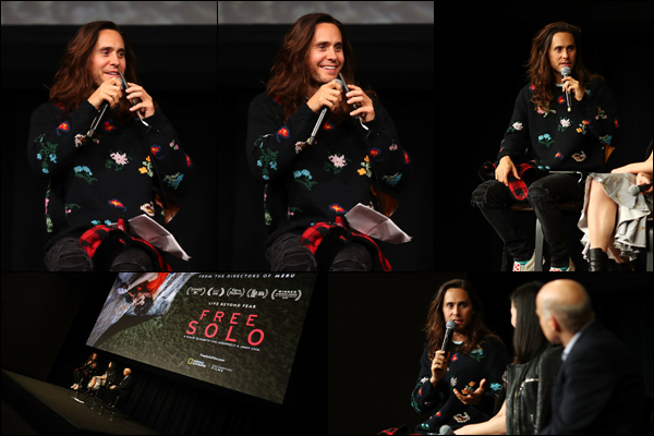 17.01.2019 :  Jared était à la première du documentaire de National Geographic « Free Solo » à Los Angeles  Enfin des news de Jared ! après presque deux mois sans news - Il était présent au NeueHouse à Hollywood