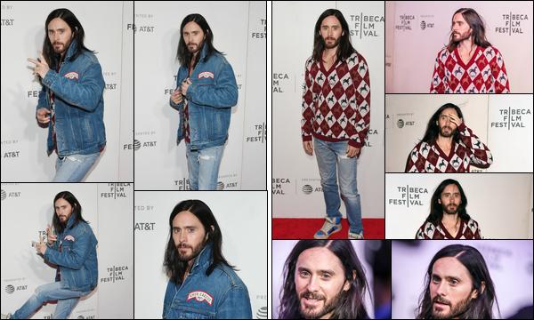27.04.2019   ▬ Jared était à la première de « A Day In The Life of America » au Tribeca Festival à New York  J'aime énormément le nouveau style de Jared ça lui va à ravir , il avait deux tenues lors de cet événement, c'est un top