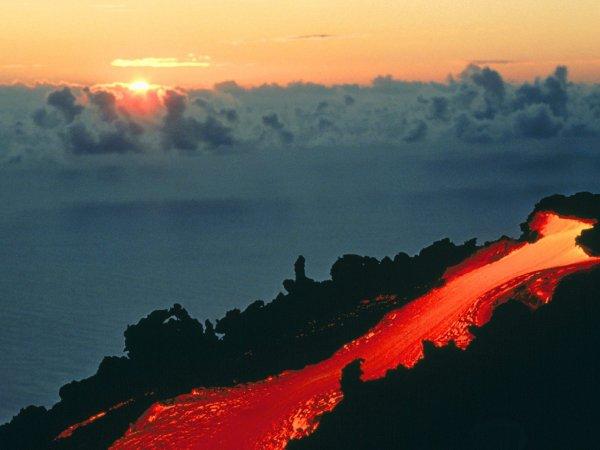 une coulée volcanique