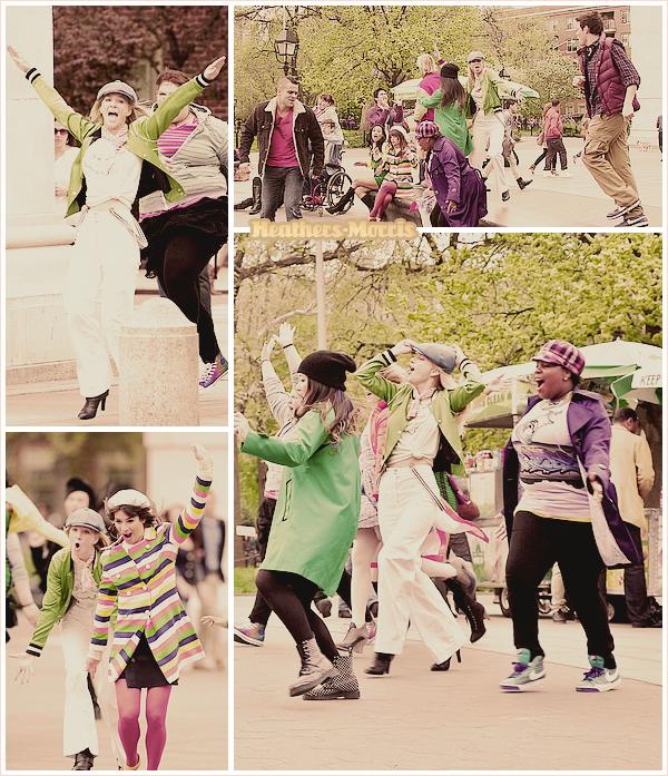 . ..Vendredi 29 avril 2011.. Heather ainsi que ses co-stars tournaient le dernier épisode de la saison 2 de sa tenue t affrggse...Glee, dans le parc '' Washington Square Park '' de N-Y ! ...Sa tenue est affreuse...