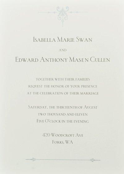 Faire-part du mariage d'Edward et Bella