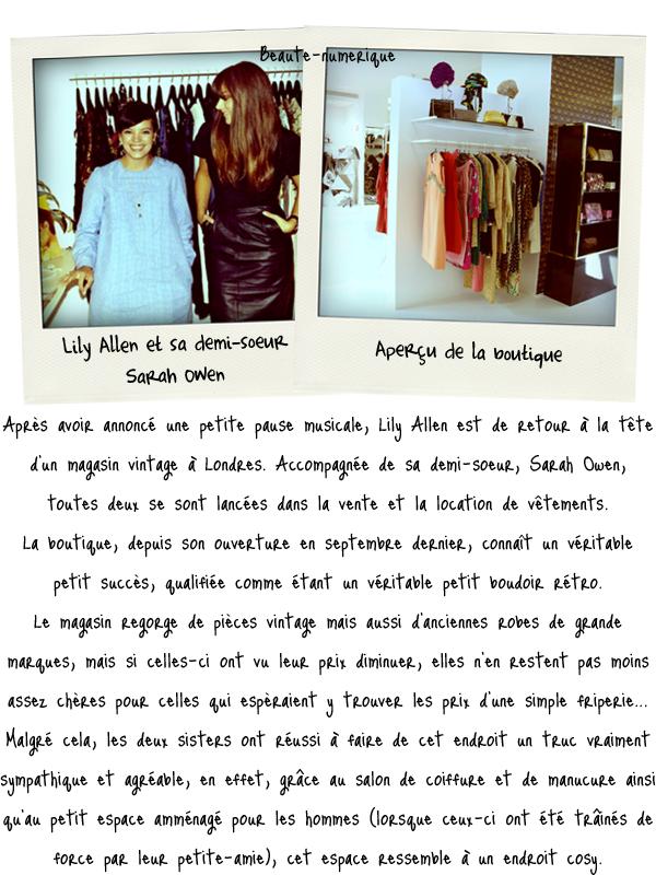 ~ Actualité: Lily Allen se lance dans la mode!
