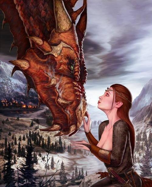 Dragon avec elfe