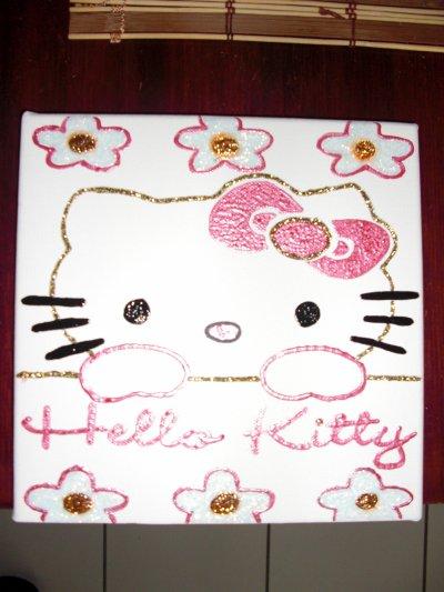 peinture 3d sur toile hello kitty offerte a noel pr ma mere