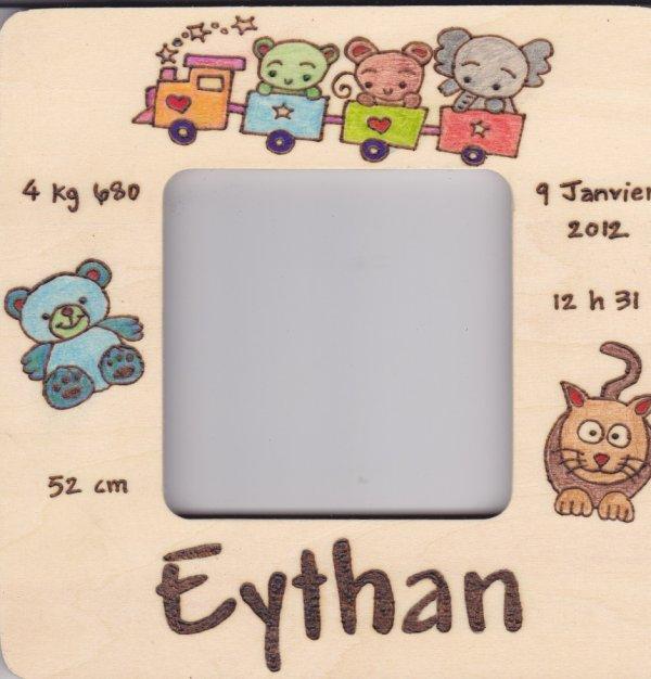 Plaque de naissance sur cadre photo offerte
