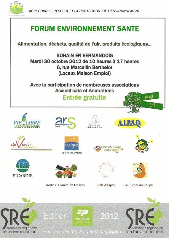 INVITATION GRATUITE au FORUM ENVIRONNEMENT SANTE à BOHAIN en Vermandois le 30 octobre 2012