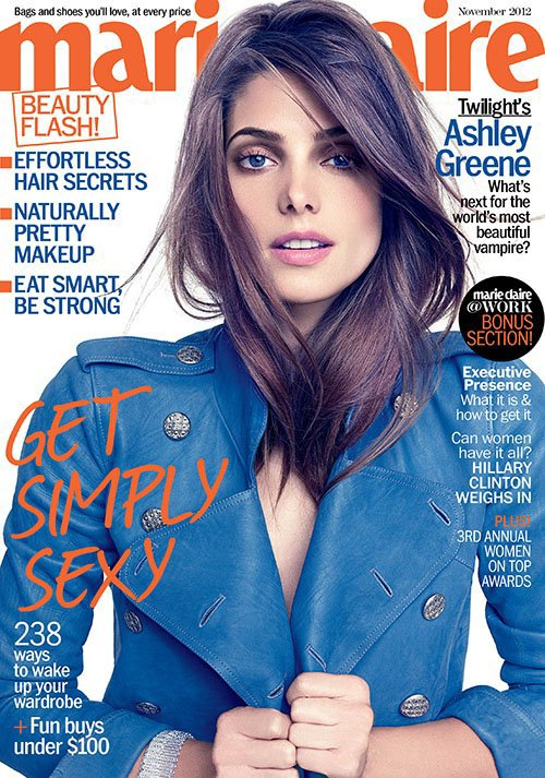 "Ashley pour la magazine ""Marie-Claire"" Novembre 2012."