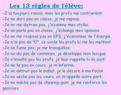 Les 13 règles de l'élève