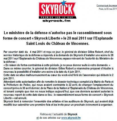 Info concert Skyrock Liberté