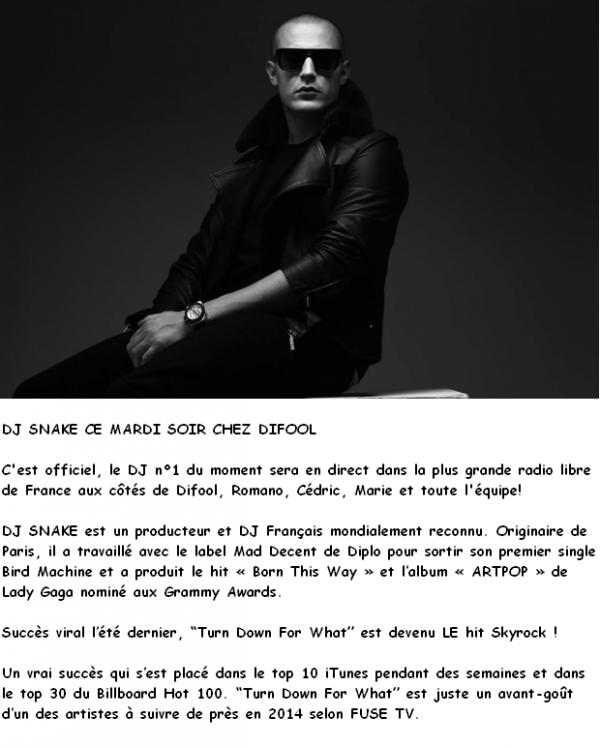 DJ SNAKE CE MARDI SOIR CHEZ DIFOOL
