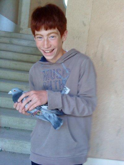 mon meilleur ami texan45 avec un pigeon voyageur!!!!!!!!!!!!!!