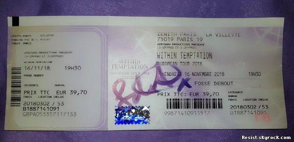 ~ Within Temptation - Concert du 16 novembre 2018 au Zénith de Paris ~