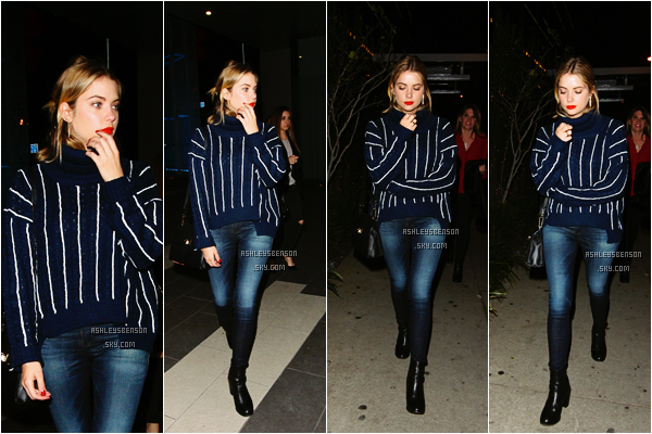 Le 23 Décembre, Ashley Benson sortait du restaurant BOA dans West Hollywood, LA. Sa tenue est toute jolie j'aime beaucoup son pull bleu et ses bottines noir, un très beau top.