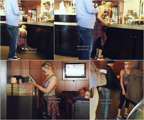 *ashleysbenson* 23/01/15 - Ashley B était seule au café Primo à West Hollywood .  Ash n'est pas très souriante, côté tenue je ne suis pas fan, c'est une tenue de sport quoi, flop pour moi et vous ?