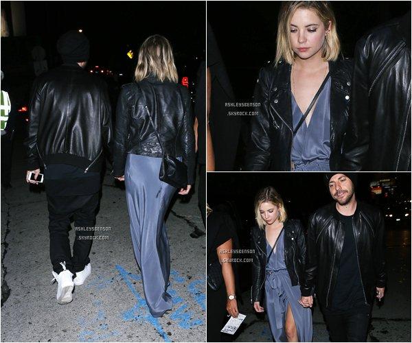 *ashleysbenson* 08/02/15 - Ashley partait du Chateau Marmont avec son amoureux à West Hollywood.  Je la trouve très élégente dans cette robe bleue, ça la change du noir, ses talons sont magnifiques.