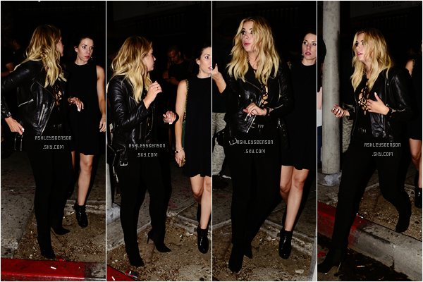 Le 26 Septembre, Ashley partait du Warwick Night Club dans Hollywood. Sa tenues m'a l'air plutôt sexy, j'aime beaucoup, malgré qu'elle soit comme à son habitude toute de noire vêtue.. Je lui accorde un beau top.