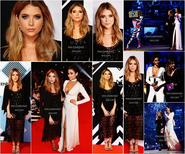 Le 25 Octobre, Ashley et sa co-star de PLL Shay Mitchell se sont rendues aux MTV Europe Music Awards à Milan en Italie. J'aime bien sa tenue sans plus, sa robe est assez spéciale, mais j'aime ses talons et sa coiffure.