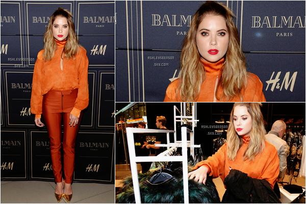 """Le 04 Novembre, Ash s'est rendue au """"Balmain x H&M VIP Pre-Launch"""" dans Los Angeles. J'aime beaucoup sa tenue, ça change de d'habitude, le orange lui va bien. Un très beau top pour notre jolie Ashley."""