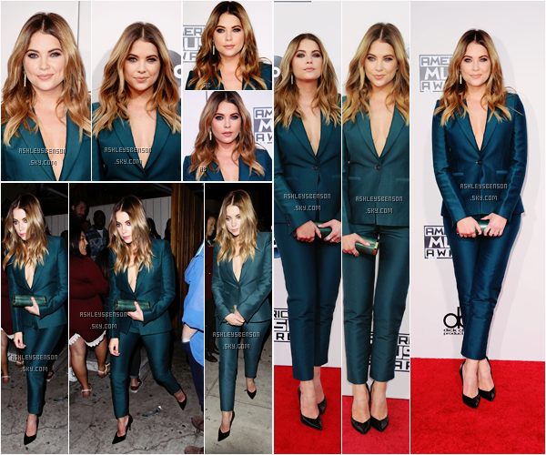 Le 22 Novembre, Mlle Ashley Benson a participé au American Music Awards au Microsoft Theater à Los Angeles. Sa tenue est superbe, je lui donne un beau top, le vert l'embellie je trouve, et son maquillage est parfait.