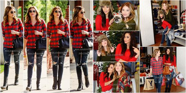 Le 08 Décembre, Miss Benson se baladait dans Los Angeles afin de se rendre à American Eagle Outfitters à Hollywood pour faire du shopping avec Shay Mitchell. Elles sont trop mignonnes toutes les deux! J'adore leur tenues! Des beaux tops.