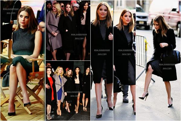 Le 12 Janvier, notre belle Ashley était à l'émission Good Morning America avec ses co-stars de PLL, puis elle a été vue sortant des studios de l'émission à New York. Sa tenue est jolie, j'aime bien ses chaussures aussi, un beau top pour la belle.