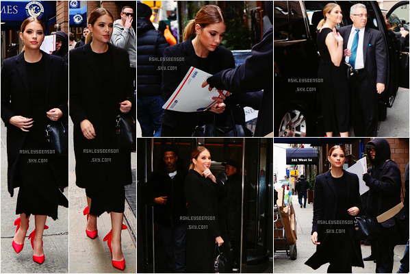 Le 12 Janvier, continuant la promo de PLL Ashley a té vue sortant des studios The View, puis se baladant dans New York City. Un flop pour moi, la robe n'est pas belle du tout, elle fait vieillotte et trop longue, ses talons rouge passe encore.