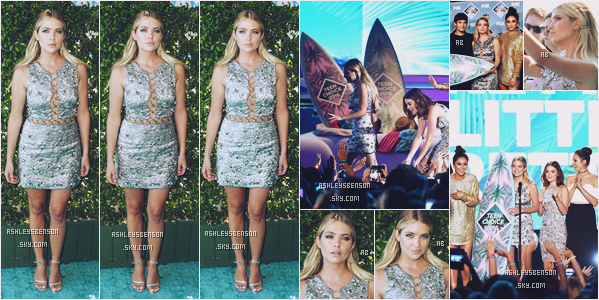 31/07/16 : Ashley Benson accompagnée de ses co-stars de PLL était aux Teen Choice Awards, Los Angeles. C'est avec une somptueuse robe Michael Kors portée par Kendall Jenner au défilé de janvier 2016 que la belle s'est présentée.