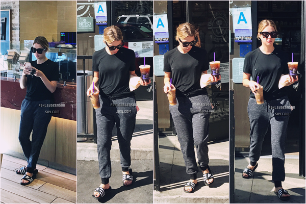 21/10/16 : Ash Benson a été vue se chercher un petit café à Coffee bean Los Angeles.  Ashley, ne remet plus jamais ces claquettes, vraiment, au secours.. Sinon tenue entièrement basique, je lui donne un flopp .