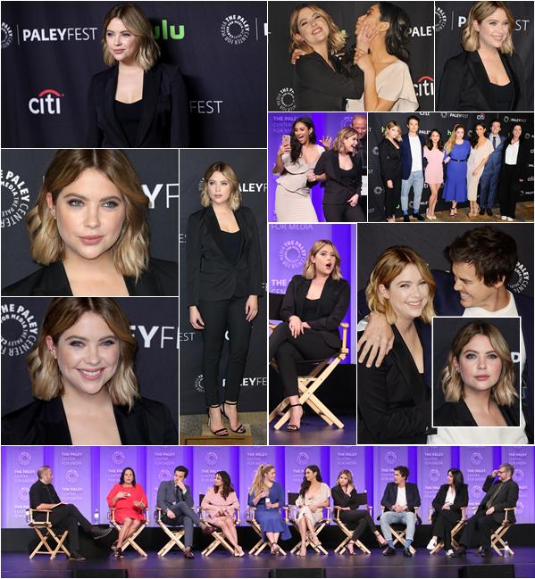 """25/03/17 : Ashley Benson était au """"Paley Frest 2017"""" avec le cast de PLL, Los Angeles. Elle y était pour parler de la série, avec notamment Shay Mitchell et Tyler Blackburn. Gros gros top, j'adore son tailleur."""