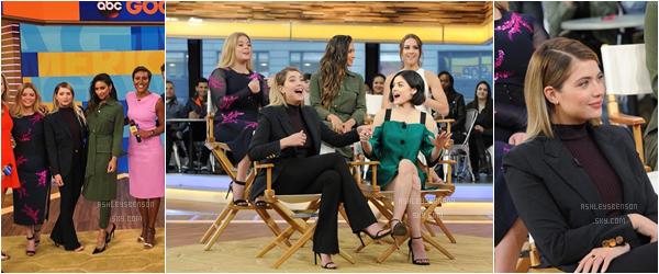 """18/04/17 : Ashley, de bon matin, s'est rendue à l'émission télé """"Good Morning America"""" avec tout le cast, New York. C'est repartis pour la tournée des émissions, les filles font, effectivement, la promo de la 2ème partie de saison de PLL, beau top."""