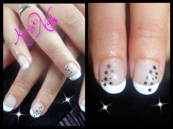Entretien  Pose en gel sur ongle naturel , French blanche déco étoile au  stamping .